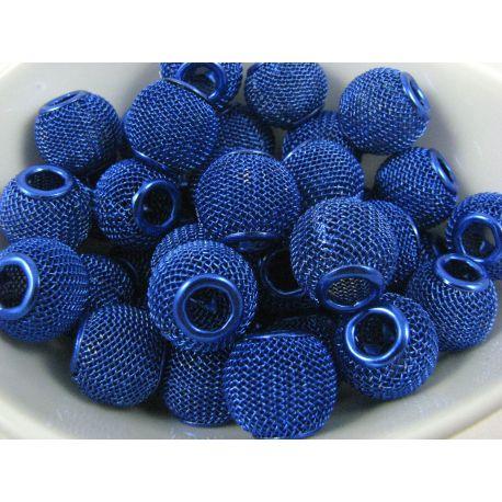 """Metaliniai """"Mesh"""" karoliukai, vėriniams, papuošalams. Mėlynos spalvos, 14x12 mm, skylė ~5 mm, 1 vnt."""