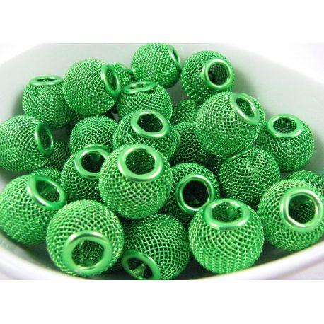"""Metaliniai """"Mesh"""" karoliukai, vėriniams, papuošalams. Žalios salotinės spalvos, 14x12 mm, skylė ~5 mm, 1 vnt."""