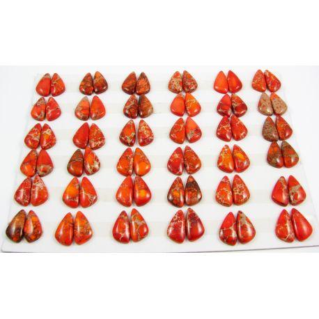Imperial jaspio kabošonas oranžinės spalvos netaisyklingos lašo formos 10-12x19-22x4 mm