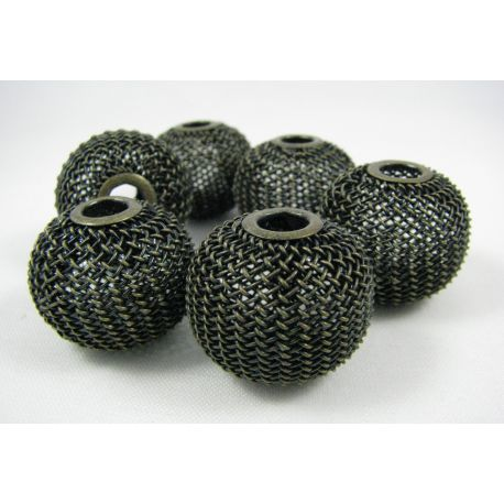 Metaliniai karoliukai, tamsios bronzinės spalvos, 25x20 mm, 1 vnt.