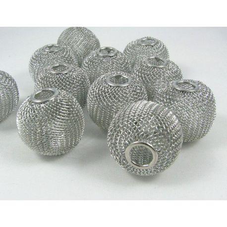 """Metaliniai """"Mesh"""" karoliukai, vėriniams, papuošalams. Tamsios sidabro spalvos, 30x23 mm, skylė ~8 mm, 1 vnt."""