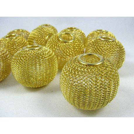 """Metaliniai """"Mesh"""" karoliukai, vėriniams, papuošalams. Aukso spalvos, 30x25 mm, skylė ~8 mm, 1 vnt."""