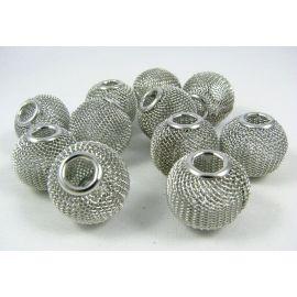 """Metaliniai """"Mesh"""" karoliukai, vėriniams, papuošalams. Tamsios sidabro spalvos, 20x18 mm, skylė ~6 mm, 1 vnt."""
