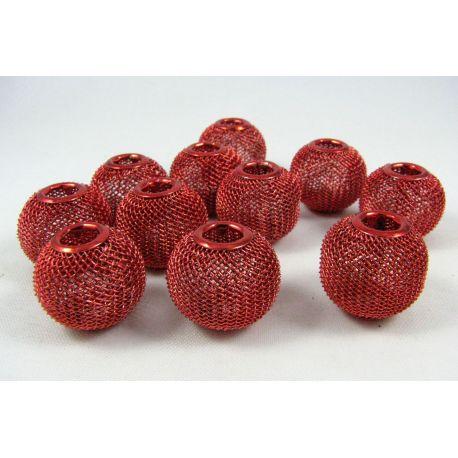 """Metaliniai """"Mesh"""" karoliukai, vėriniams, papuošalams. Raudonos spalvos, blizgūs, 20x18 mm, skylė ~6 mm, 1 vnt."""