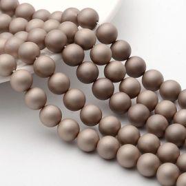SHELL perlų karoliukai, kreminės spalvos apvalios formos 8 mm, 10 vnt