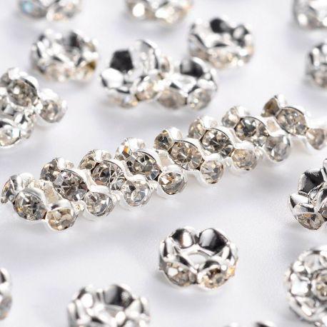 Intarpas sidabro spalvos inkrustuota skaidriomis akutėmis, dydis 6 mm, kiekis - 10 vnt.
