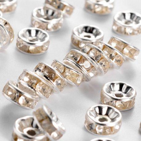 Intarpas sidabro spalvos inkrustuotas skaidriomis akutėmis, dydis 8 mm, kiekis - 6 vnt.