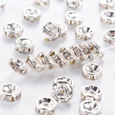 Intarpas sidabro spalvos inkrustuotas skaidriomis akutėmis, dydis 6 mm, kiekis - 10 vnt.