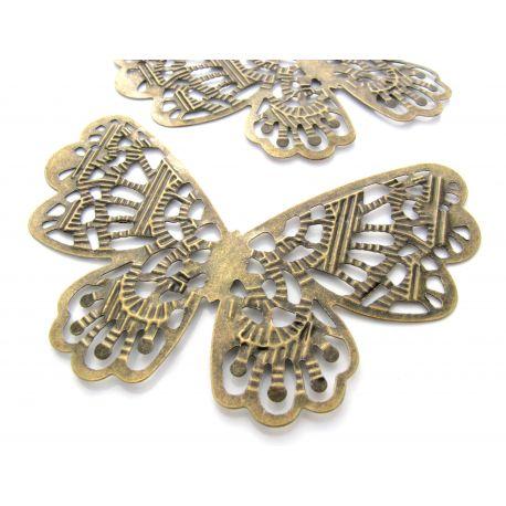 Ažūrinė plokštelė skirta papuošalų gamybai, dekoracijoms, papuošimams. Sendintos bronzinės spalvos, dydis 63x42 mm