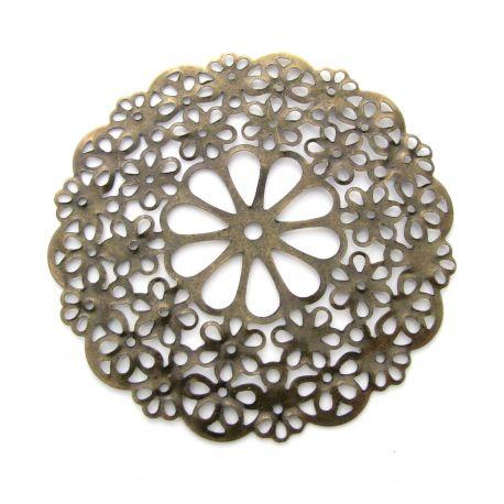 Ažūrinė plokštelė skirta papuošalų gamybai, dekoracijoms, papuošimams. Sendintos bronzinės spalvos, dydis 56 mm