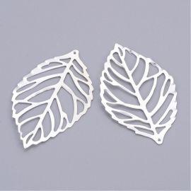Ažūrinė plokštelė - pakabukas, sidabro spalvos, lapo formos, 51 mm