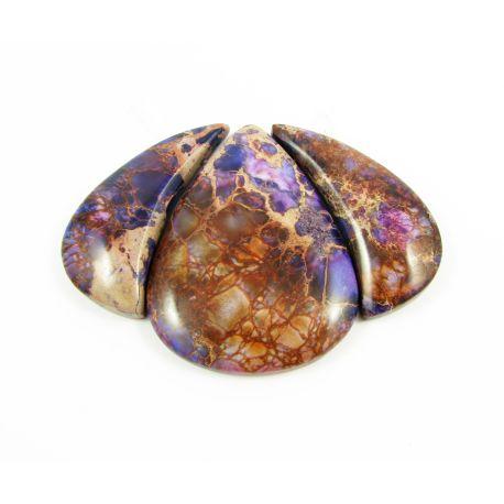 Imperial jaspis pakabukų komplektas violetinės spalvos lašo formos 17x38x5,5 mm, 38x47x5,5 mm