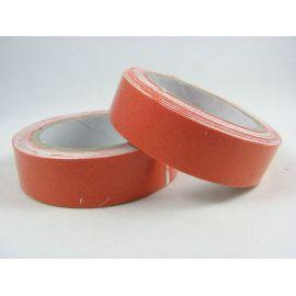 Medvilninė lipni juostelė rankdarbiams, papuošalams, atvirutėms, raudonai oranžinės spalvos, 15 mm pločio, ritinėlyje apie 4 met