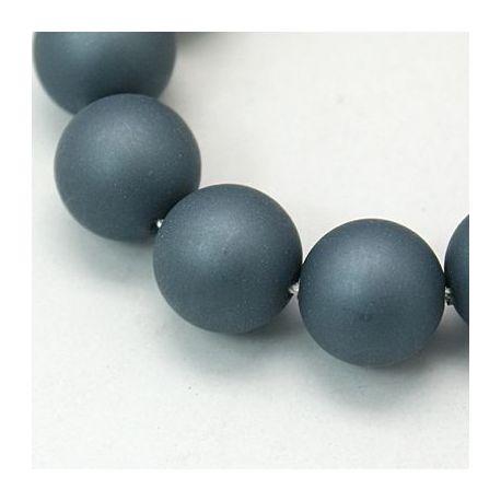 SHELL perlų karoliukai vėriniams, apyrankėms, pilkai mėlynos spalvos apvalios formos 10 mm, 10 vnt