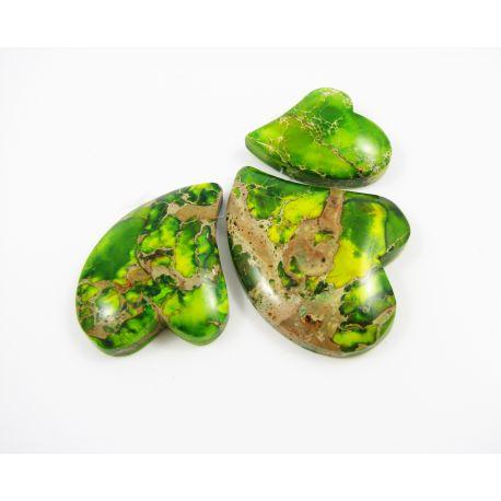 Imperial jaspio pakabukų komplektas žalios spalvos širdelės formos 24-33x30-46x6-7 mm