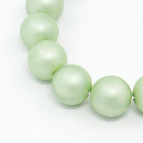 SHELL perlai, šviesiai žalios spalvos apvalios formos 10 mm, 10 vnt