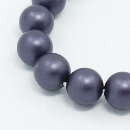 SHELL perlų karoliukai vėriniams, apyrankėms, matinės pilkai violetinės spalvos apvalios formos 8 mm, 10 vnt