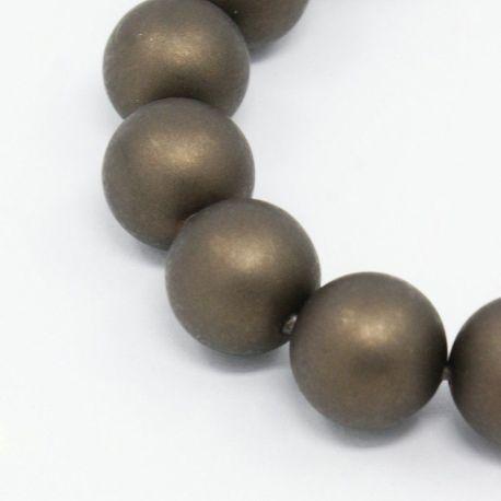SHELL perlų karoliukai vėriniams, apyrankėms, matinės rudos spalvos apvalios formos 8 mm, 10 vnt