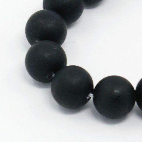 SHELL perlų karoliukai vėriniams, apyrankėms, matinės juodos spalvos apvalios formos 8 mm, 10 vnt