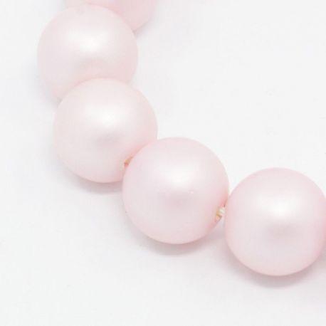 SHELL perlų karoliukai vėriniams, apyrankėms, matinės rožinės spalvos apvalios formos 8 mm, 10 vnt