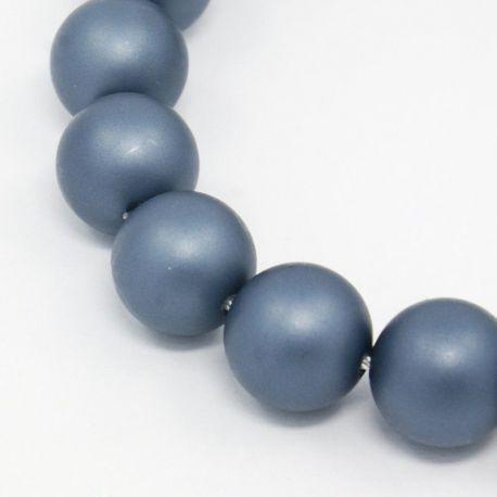 SHELL perlų karoliukai vėriniams, apyrankėms, matinės pilkos, mėlynos spalvos apvalios formos 8 mm, 10 vnt
