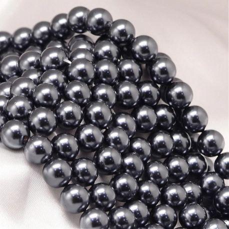 SHELL perlų karoliukai vėriniams, apyrankėms, blizgūs, pilko spalvos apvalios formos 8 mm, 10 vnt