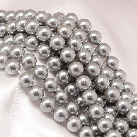 SHELL perlų karoliukai vėriniams, apyrankėms, blizgūs, sidabro spalvos apvalios formos 8 mm, 10 vnt