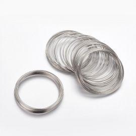 Viela su atmintimi apyrankei, platinos spalvos, dydis 60 mm, 10 žiedų
