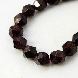 Natūralūs Granato akmeniniai karoliukai, dydis - 6 mm, tamsios vyšninės spalvos, 1 gija