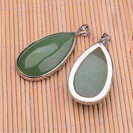Natūralus Aventurino akmeninis pakabukas, šviesios žalios spalvos, lašo formos, dydis 50x26x9 mm