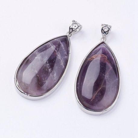 Natūralus Ametisto akmeninis pakabukas, violetinės-baltos spalvos, lašo formos, dydis 50x26x9 mm