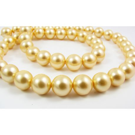 SHELL perlų karoliukai vėriniams, apyrankėms aukso spalvos 8 mm