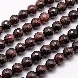 Tamsiai vyšninės spalvos Natūralūs Granato akmeniniai karoliukai, dydis - 8 mm, gijoje 46 vnt.