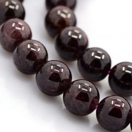 Tamsiai vyšninės spalvos Natūralūs Granato akmeniniai karoliukai, dydis - 10 mm, gijoje 38 vnt.