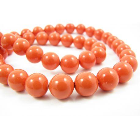 SHELL perlai vėriniams, apyrankėms, auskarams oranžinės spalvos 8 mm