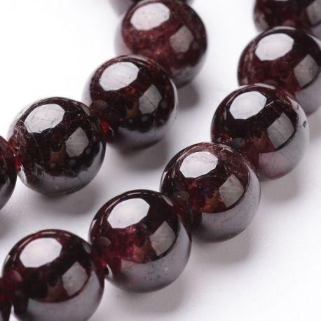 Tamsiai vyšninės spalvos Natūralūs Granato akmeniniai karoliukai, dydis - 8 mm, gijoje 50 vnt.