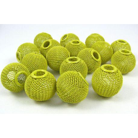 Metaliniai karoliukai, geltonos spalvos, 20x18 mm, 1 vnt.