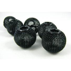 """Metaliniai """"Mesh"""" karoliukai, vėriniams, papuošalams. Juodos spalvos, 20x18 mm, skylė ~6 mm, 1 vnt."""