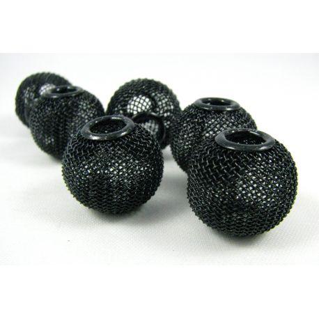 Metaliniai karoliukai, juodos spalvos, 20x18 mm, 1 vnt.