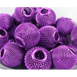 """Metaliniai """"Mesh"""" karoliukai, vėriniams, papuošalams. Violetinės spalvos, 16x14 mm, skylė ~5 mm, 1 vnt."""