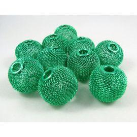 """Metaliniai """"Mesh"""" karoliukai, vėriniams, papuošalams. Žalios spalvos, 25x22 mm, skylė ~6 mm, 1 vnt."""