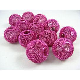 """Metaliniai """"Mesh"""" karoliukai, vėriniams, papuošalams. Ryškiai rožinės spalvos, 25x22 mm, skylė ~6 mm, 1 vnt."""