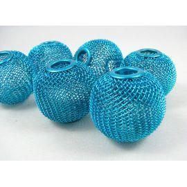 """Metaliniai """"Mesh"""" karoliukai, vėriniams, papuošalams. Ryškiai mėlynos - elektrinės spalvos, 30x26 mm, skylė ~8 mm, 1 vnt."""
