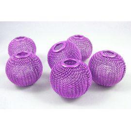 """Metaliniai """"Mesh"""" karoliukai, vėriniams, papuošalams. Ryškiai violetinės spalvos, 30x26 mm, skylė ~8 mm, 1 vnt."""