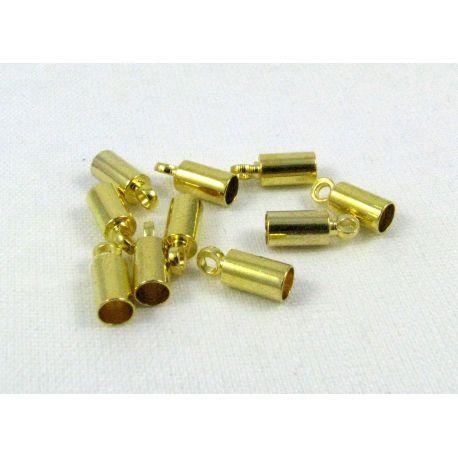 Užbaigimo detalė skirta vėriniams, apyrankėms, papuošalams, aukso spalvos, 9x3,5 mm, vidiniai matmenys 3mm, 10 vnt.