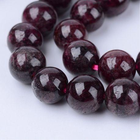 Tamsiai vyšninės spalvos Natūralūs Granato akmeniniai karoliukai, dydis - 4 mm, gijoje 85 vnt.