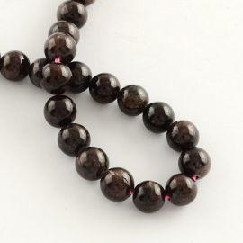 Tamsiai vyšninės spalvos Natūralūs Granato akmeniniai karoliukai, dydis - 8 mm, gijoje 46 vnt., gijos ilgis 38 cm