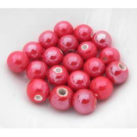 Rankų darbo keramikiniai karoliukai, vėriniams, papuošalams. Blizgios raudonos spalvos, dydis 10 mm, kaina už 1 vnt.