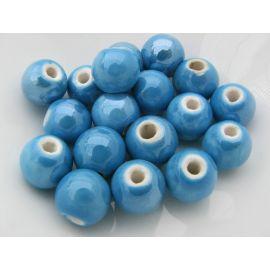 Rankų darbo keramikiniai karoliukai, vėriniams, papuošalams. Blizgios ryškios žydros spalvos, dydis 10 mm, kaina už 1 vnt.
