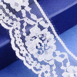 Ažūrinė dekoratyvinė juostelė, rankdarbiams, papuošalams, baltos spalvos su raštu, 42 mm pločio, 1 metras